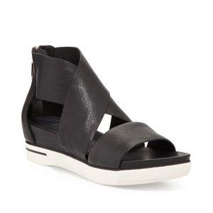Eileen Fisher Sport Wide-Strap Leather Sandals 6.5